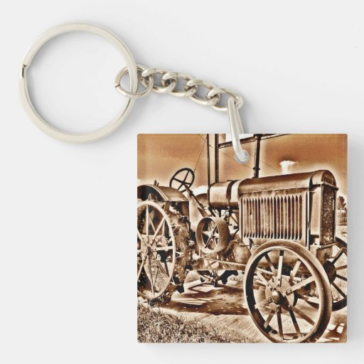 Old Tractor Keys : Antique tractor farm equipment classic sepia key chains