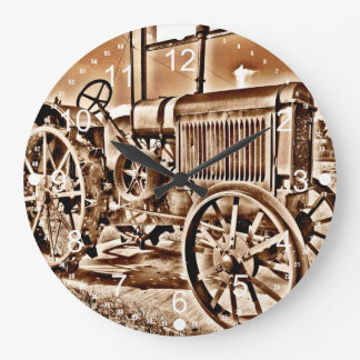 Antique Tractor Farm Equipment Classic Sepia Large Clock