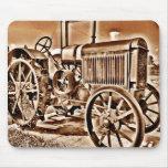 Antique Tractor Farm Equipment Classic Sepia Mouse Pad