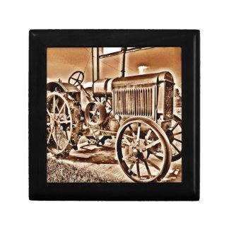 Antique Tractor Farm Equipment Classic Sepia Small Square Gift Box