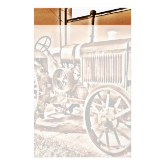 Antique Tractor Farm Equipment Classic Sepia Stationery