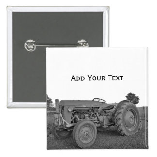 Antique Tractor in Black and White Button