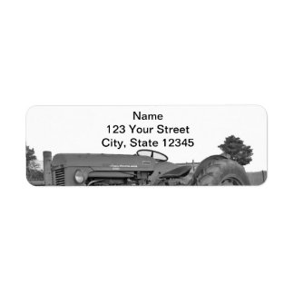 Antique Tractor in Black and White Return Address
