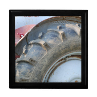 antique tractor large square gift box