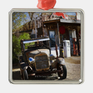 Antique truck at general store in the American Christmas Ornament