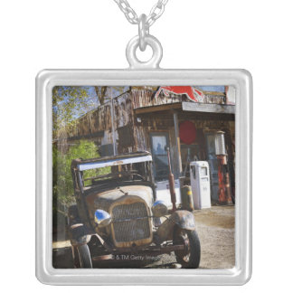 Antique truck at general store in the American Silver Plated Necklace