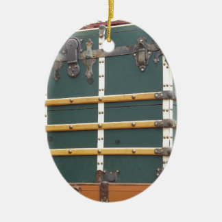 Antique Trunk Double-Sided Oval Ceramic Christmas Ornament