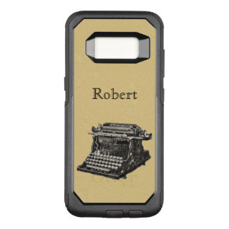 Antique Typewriter Illustration in Black White OtterBox Commuter Samsung Galaxy S8 Case