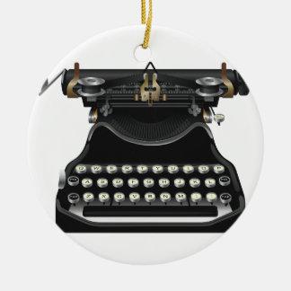 Antique Typewriter Round Ceramic Decoration