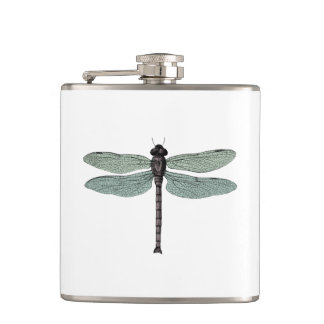 antique typographic vintage dragonfly hip flask