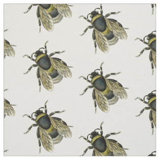 antique typographic vintage honey bee fabric