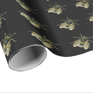 Antique Typographical Honey Bee Illustration Wrapping Paper