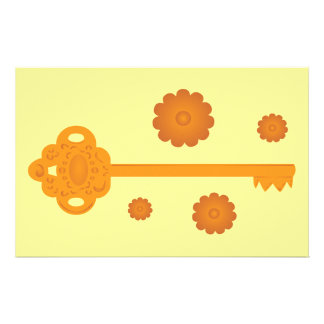 Antique Victorian Brass Key Custom Stationery