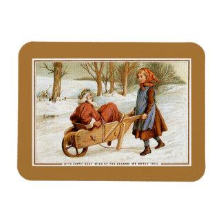 Antique Victorian Christmas Santa girl wheelbarrow Rectangular Photo Magnet