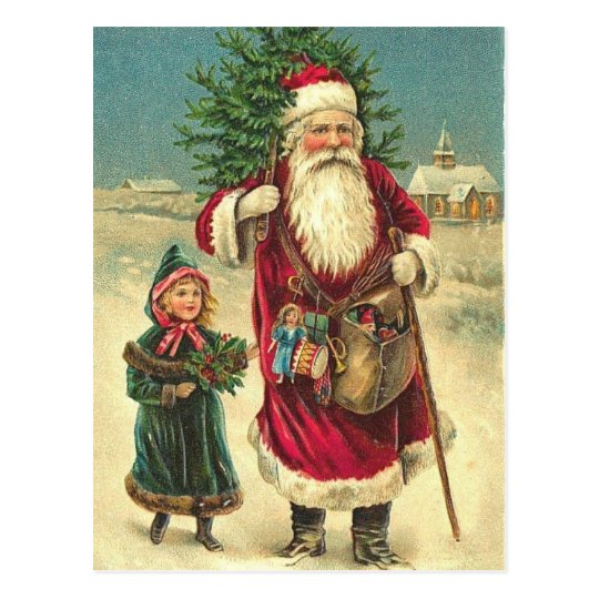 Antique Victorian Santa Tree Post Card