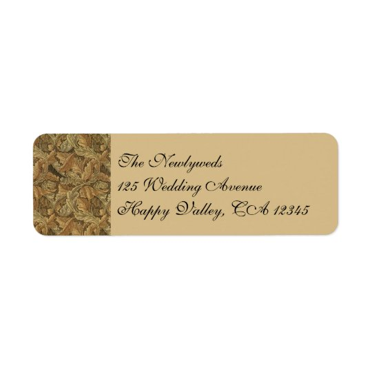 Antique Victorian Warm Autumn Leaves Wedding Return Address