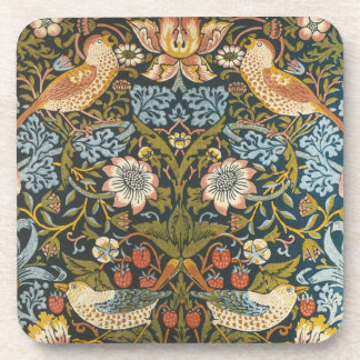 Antique Victorian William Morris Flowers Birds Drink Coaster