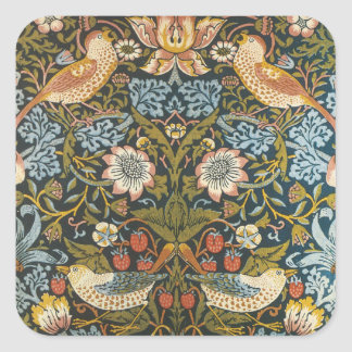 Antique Victorian William Morris Flowers Birds Square Sticker