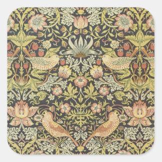Antique Victorian William Morris Flowers Birds Square Sticker