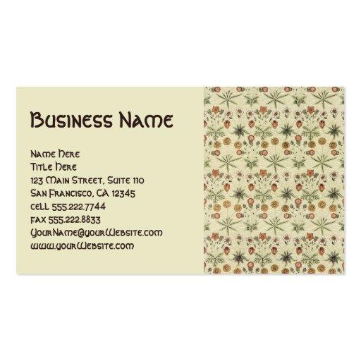 Antique Victorian William Morris Flowers Floral Business Card Template
