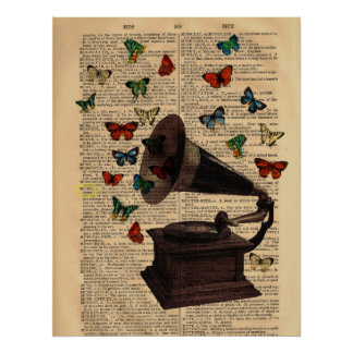 Antique Victrola Butterflies Dictionary Poster