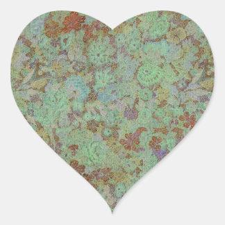 Antique,vintage,aqua,floral,lace,pattern,victorian Heart Stickers