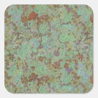 Antique,vintage,aqua,floral,lace,pattern,victorian Square Stickers