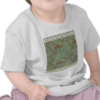 Antique,vintage,aqua,floral,lace,pattern,victorian T Shirts