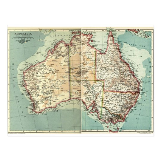 Antique Vintage Australian continent detailed map Postcard