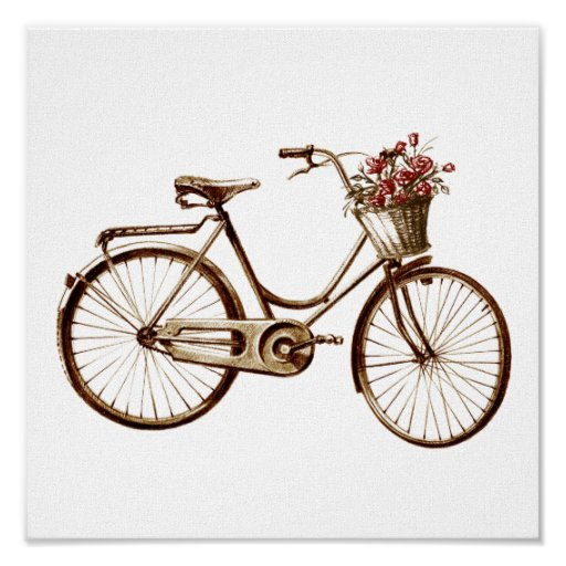 Antique Vintage Bicycle Basket Flowers Roses Print