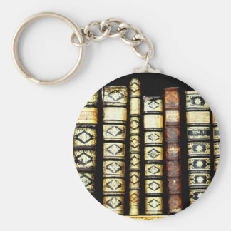 Antique Vintage Leather books Pattern Basic Round Button Key Ring