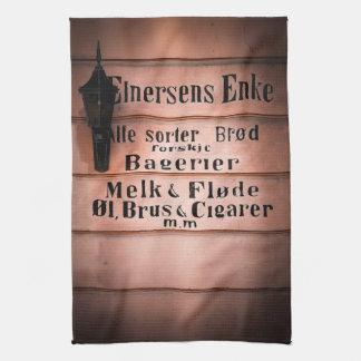 Antique Vintage Norwegian Grocery Shop Sign Hand Towel