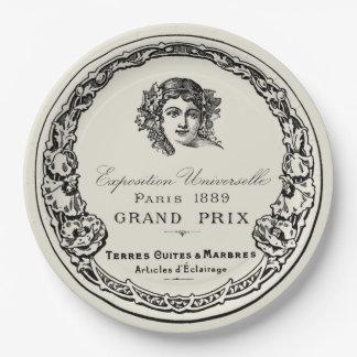 Antique Vintage Paris Print Lettering On Beige 9 Inch Paper Plate