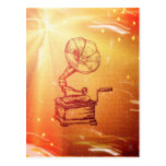Antique Vintage Phonograph. Retro Old Gramophone Post Cards