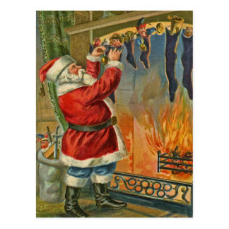Antique, Vintage-Santa Christmas Postcard