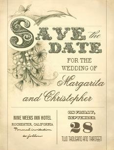 vintage save the date postcards zazzle uk
