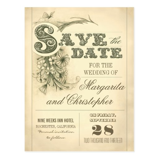 antique vintage typography save the date postcards