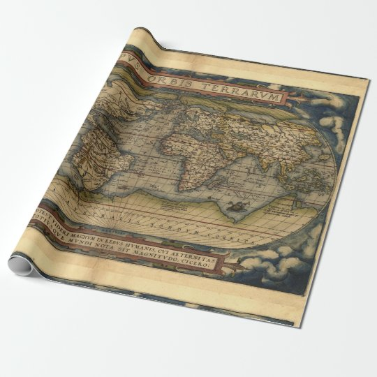 Antique Vintage World Map Atlas Decorative Roll Wrapping