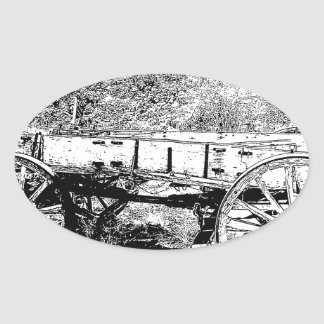 Antique Wagon in Pen and Ink Drawing Sticker
