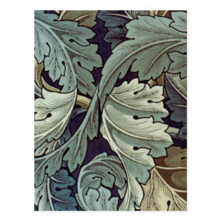Antique wallpaper leaves postcard