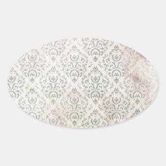 Antique wallpaper pattern oval sticker