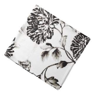 Antique White & Black Botanical Floral Toile Bandana