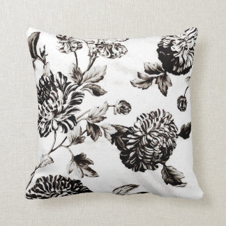 Antique White & Black Botanical Floral Toile No.2 Cushion