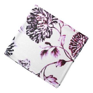 Antique White Black & Faded Rose Floral Toile Bandana