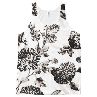 Antique White & Black Vintage Floral Toile No.2 All-Over Print Tank Top