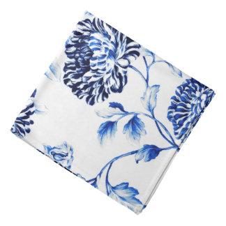 Antique White & Capri Blue Botanical Floral Toile Bandana