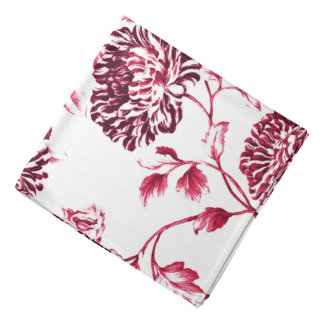 Antique White & Cherry Red Botanical Floral Toile Kerchief