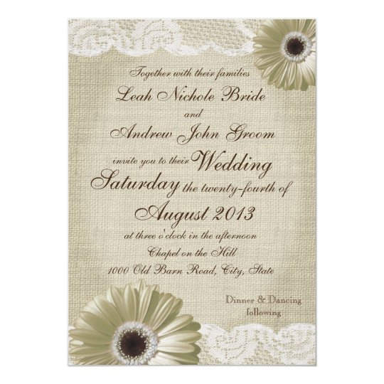 Antique White Daisy and Lace Wedding Card
