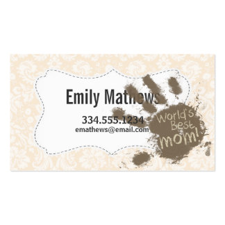 Antique White Damask Pattern; Funny Mum Pack Of Standard Business Cards