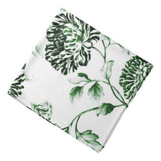 Antique White Garden Green Botanical Floral Toile Bandana